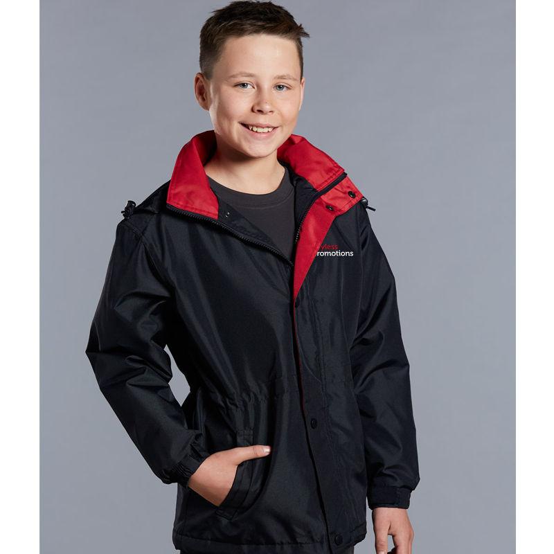 JK01K Kids Stadium Custom All Weather Jackets With Concealed Hood
