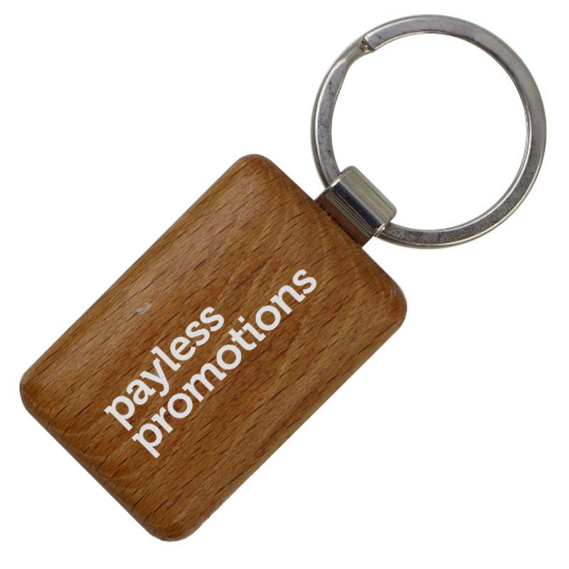 JK061 Wooden Promotional Metal Key Rings