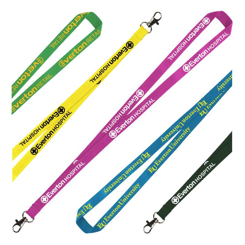 LANPOLY10 Printed 10mm Flat Polyester Lanyards With Attachment (Stock Colours)
