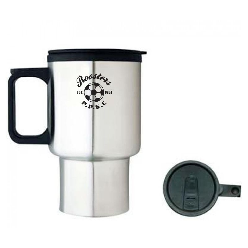 M08 425ml Full Handle Promotional Stainless Travel Mugs With Plastic Inner Wall & Handle
