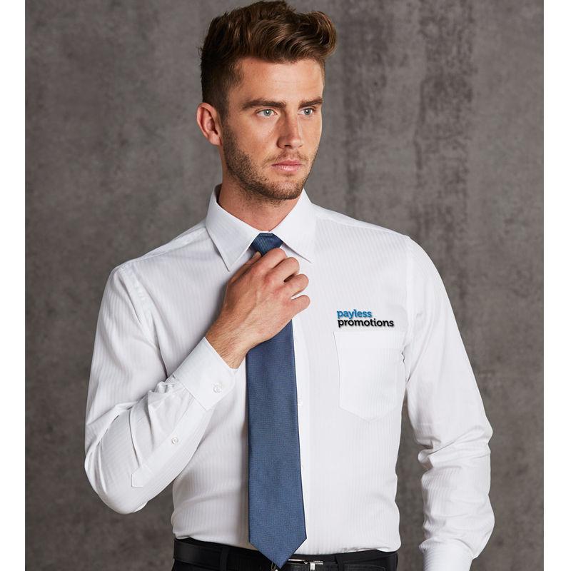 M7112 Mini Herringbone Logo Corporate Shirts - Benchmark Range