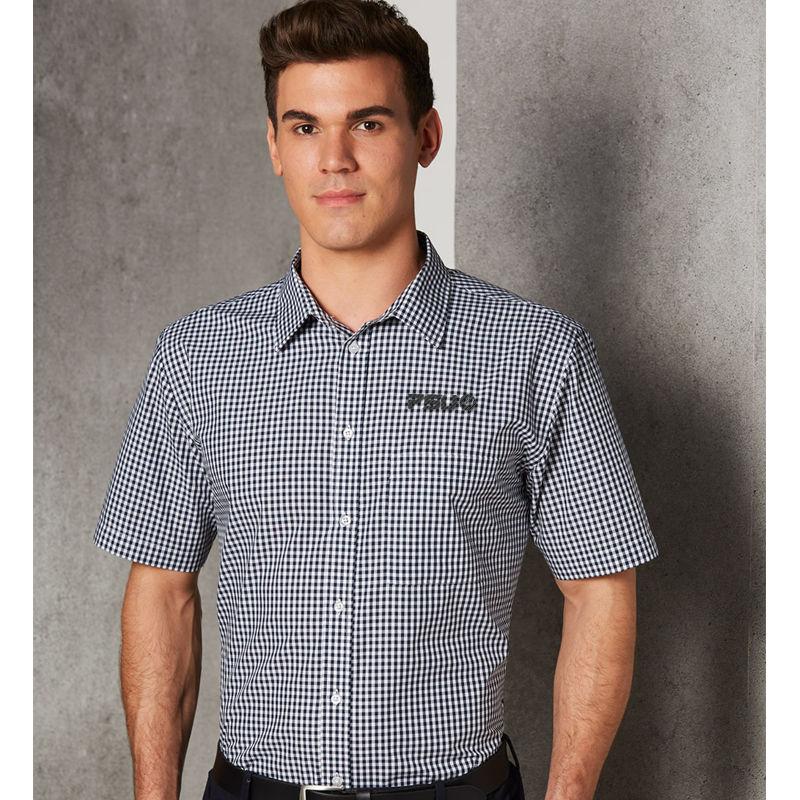 M7300S Gingham Check Logo Corporate Shirts - Benchmark Range