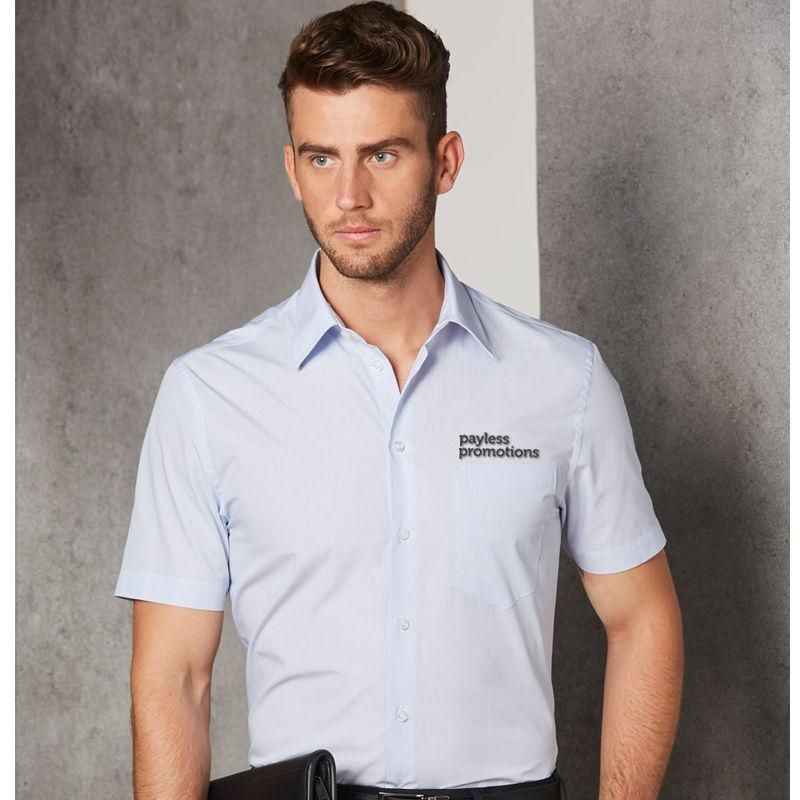 M7360S Mini Check Embroidered Business Shirts - Benchmark Range