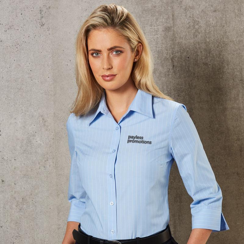 M8223 Ladies Deluxe Pin Stripe Logo Corporate Shirts - Benchmark Range