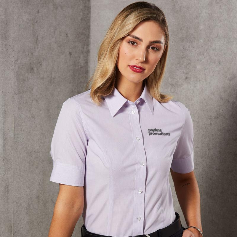 M8360S Ladies Mini Check Custom Business Shirts - Benchmark Range