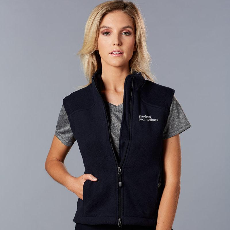 PF10 Ladies Deluxe Bonded Embroidered Polar Fleece Vests
