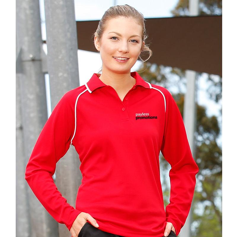 PS44 Ladies Champion CoolDry Long Sleeve Custom Polo Shirts