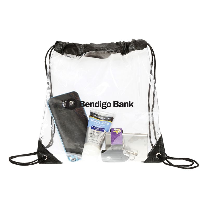 RB1021 Clear Junior Branded Backpacks With Drawstrings