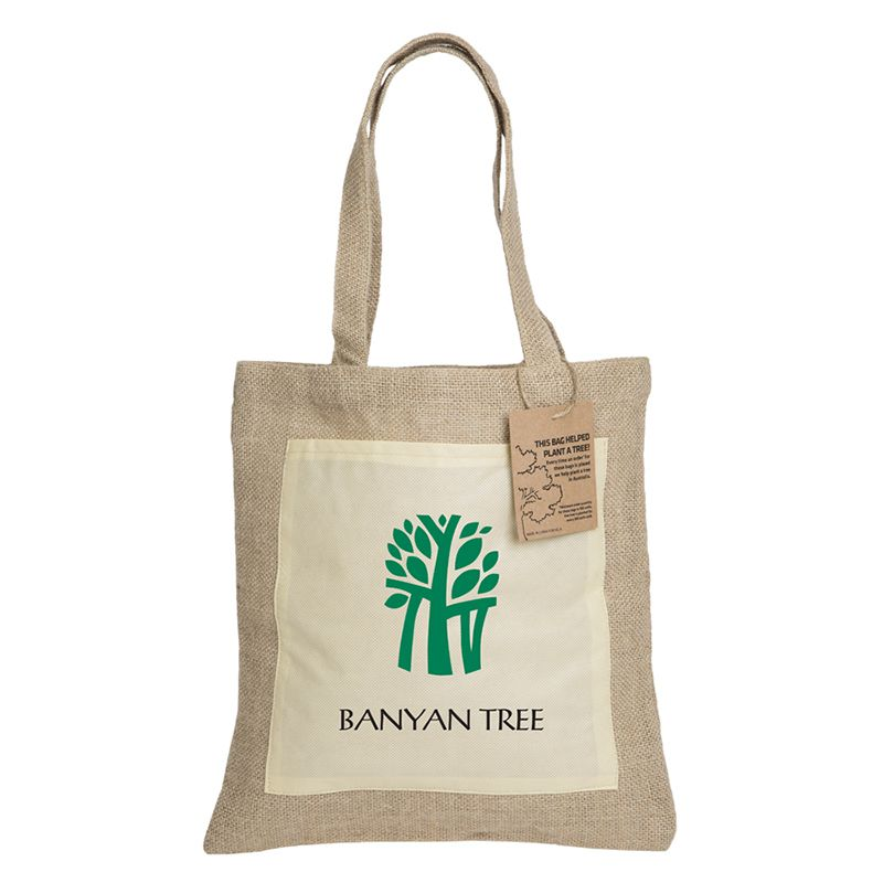 RB301 Reforest Printed Jute Bags With Front Pocket