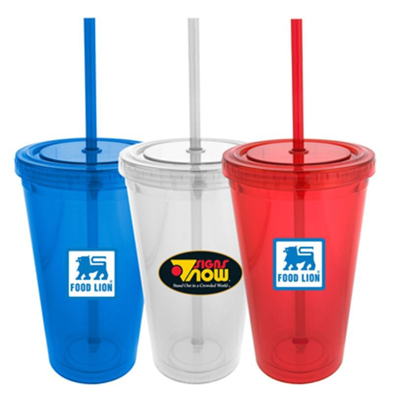 S-121 Double Wall Pop-Top Branded Plastic Drink Bottles With Straw - 473ml
