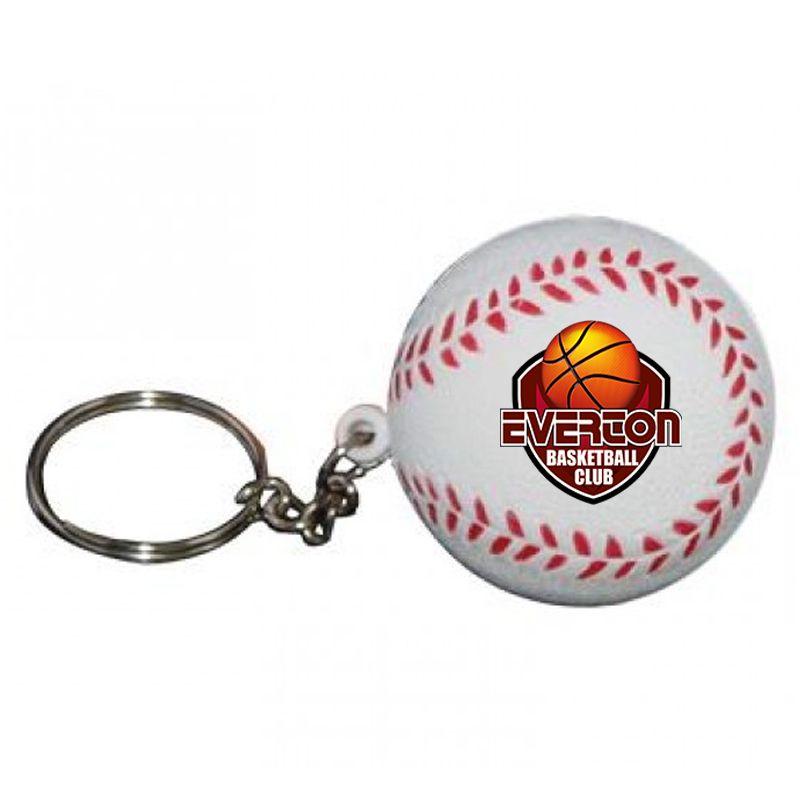 S32 Baseball Keyring white Imprinted Sports Stress Shapes