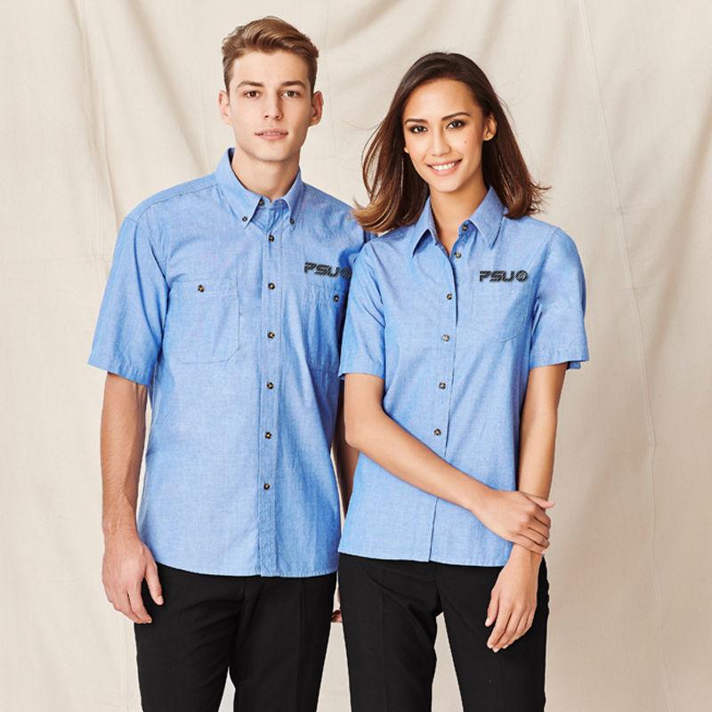 SH113 Wrinkle Free Chambray Logo Corporate Shirts