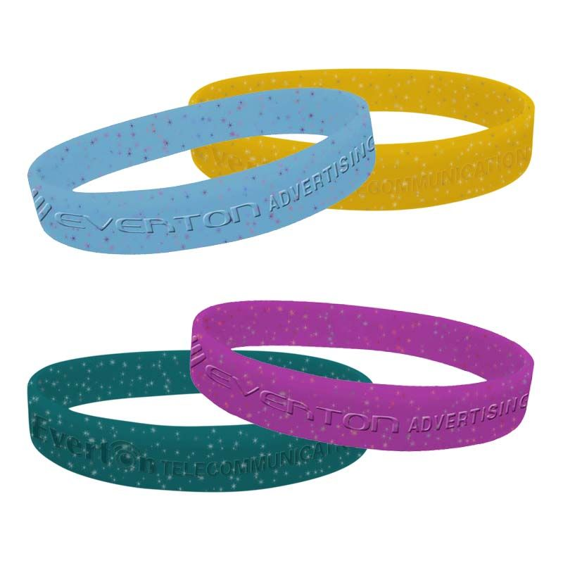 SWBGD Glitter Debossed or Embossed Custom Silicon Wristbands