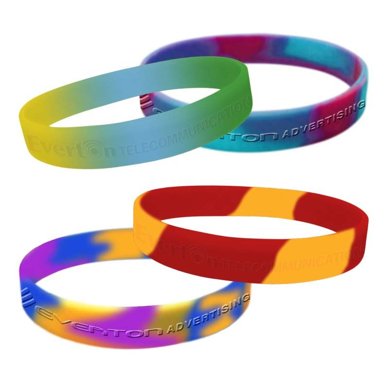 SWBSCD Segmented OR Swirled Colours (Max 5 Colours) Debossed or Embossed Personalised Silicon Wristbands