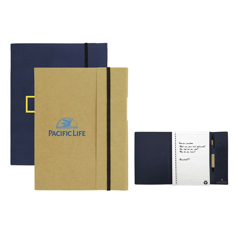T935 Large Tuck Advertising Eco Friendly Notepads With Eco Pen And Elastic Band