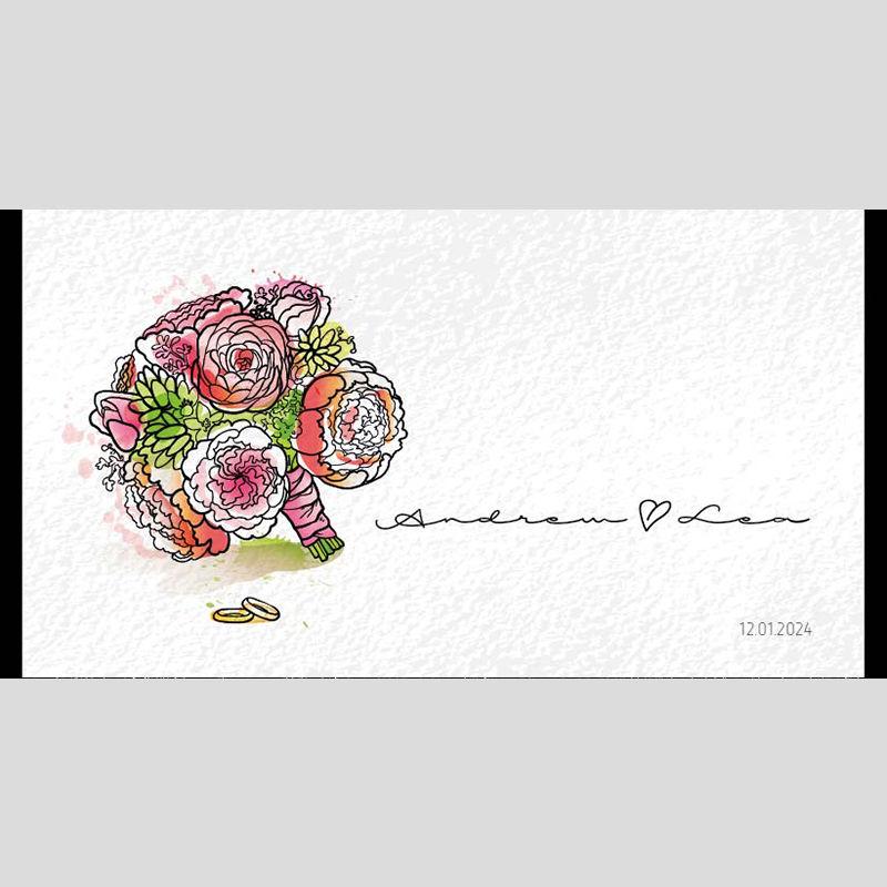 WD82 Flower Hand Drawings Wedding Stubby Holders