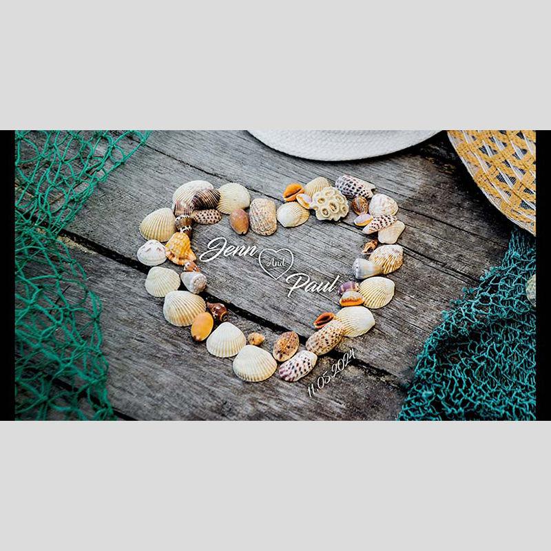 WD95 Shells Heart Wedding Stubby Holders