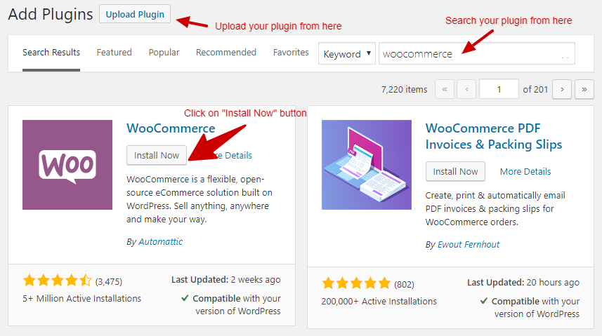 install woocommerce plugin from WP-Admin