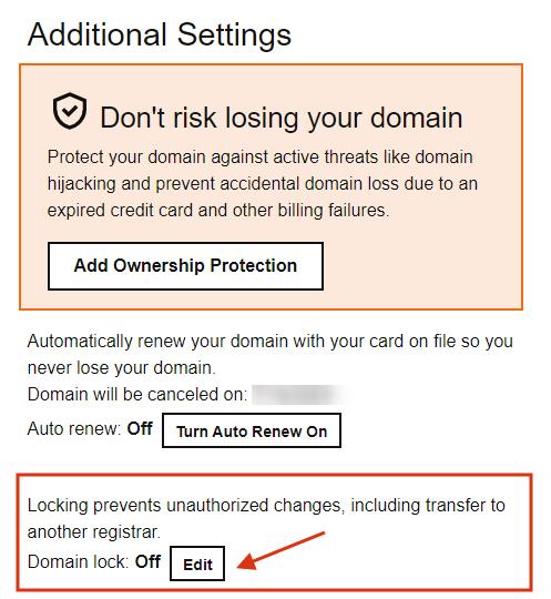 unlock domain to transfer