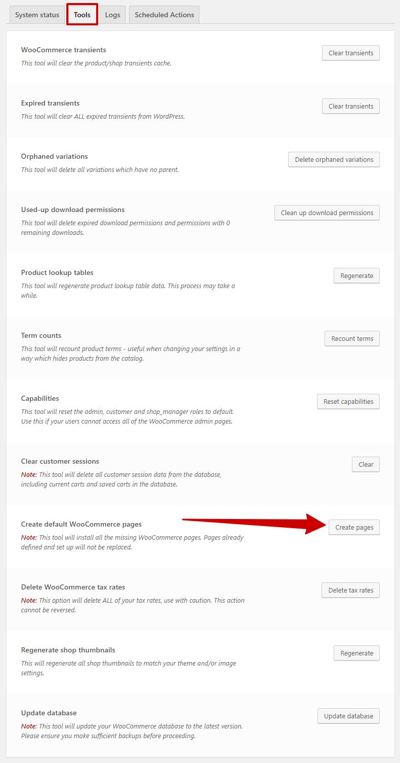create default woocommerce page