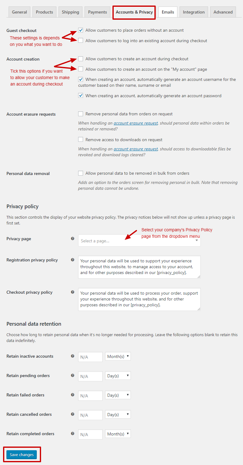 woocommerce account and privacy setting