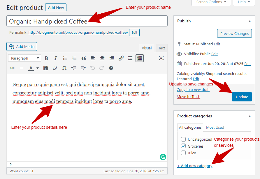 create new product in woocommerce