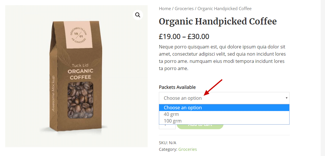 variation example in woocommerce