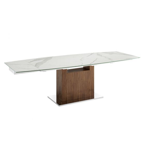 ✅ OLIVIA Motorized Dining Table in White Marbled Porcelain Top on Glass | BostonConcept.com | pic1