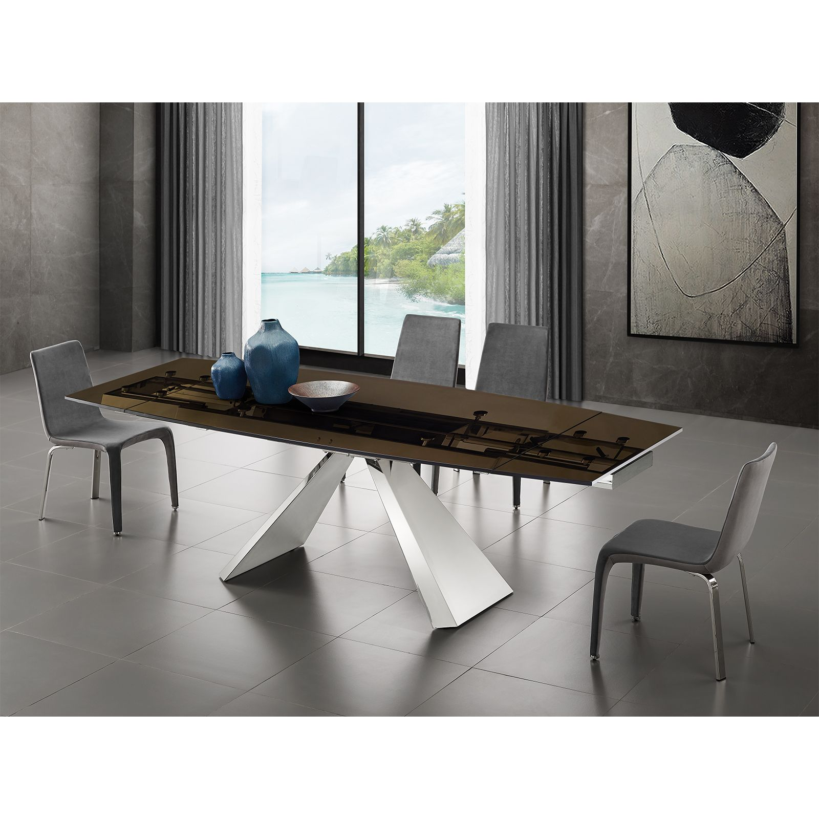 Stanza Motorized Dining Table In Smoked Glass Bostonconcept Com