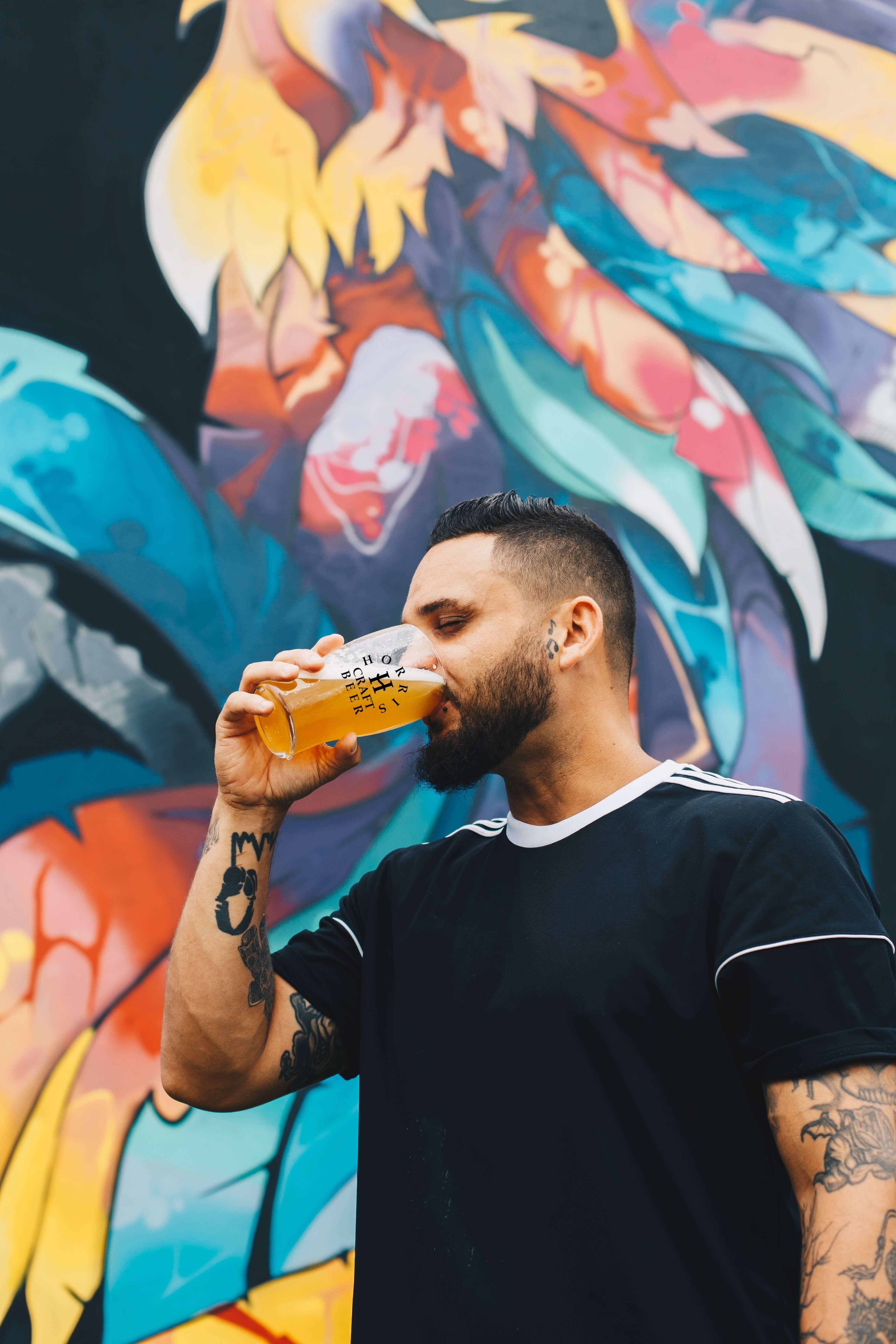 man drinking horris