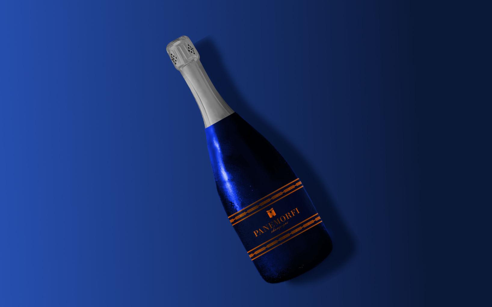 wine bottle on blue background