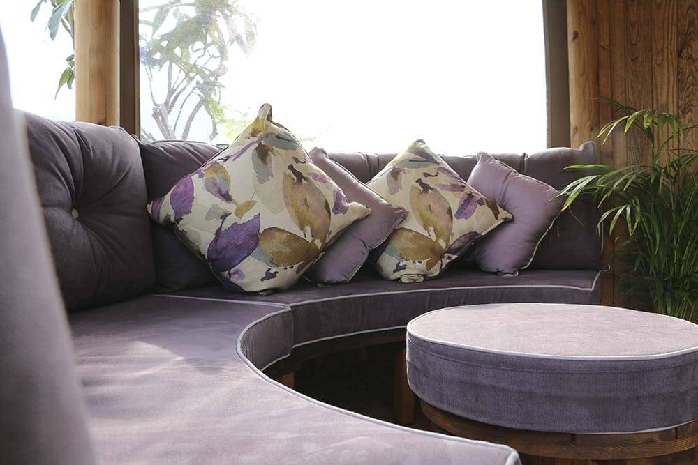 Breeze House Oval Savannah bench cushions in Lavender