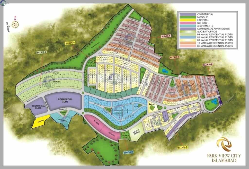 master plan map of park view city