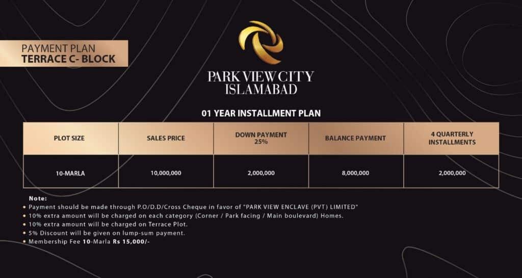 Payment plan Terrace C Block