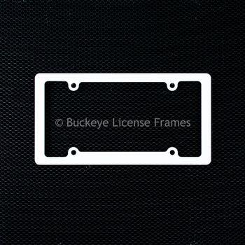 Blank Standard Rim White Plastic License Plate Frame