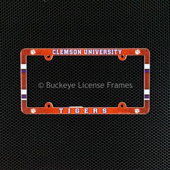 Clemson University Tigers Full Color Plastic License Plate Frame