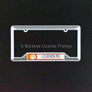 Clemson University White Plastic License Plate Frame