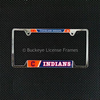 Cleveland Indians Chrome License Plate Frame - Metal