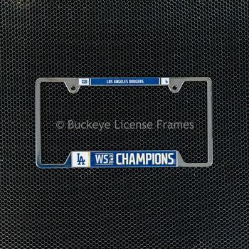 Los Angeles Dodgers World Champion Chrome Metal License Plate Frame