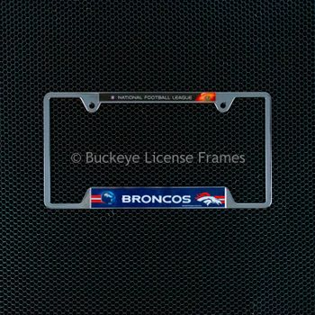 Denver Broncos Chrome License Plate Frame - Metal