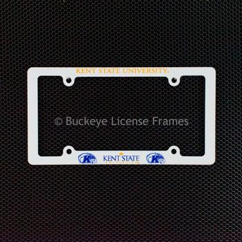 Kent State University Golden Flashes Screen Printed White Plastic License Plate Frame