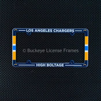 Los Angeles Chargers Full Color Plastic License Plate Frame - High Boltage