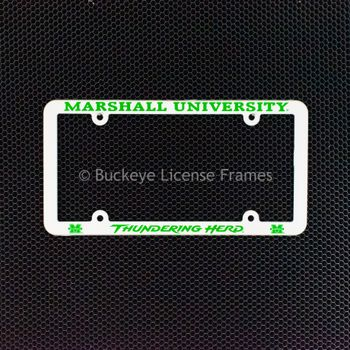Marshall University Thundering Herd Screen Printed White Plastic License Plate Frame