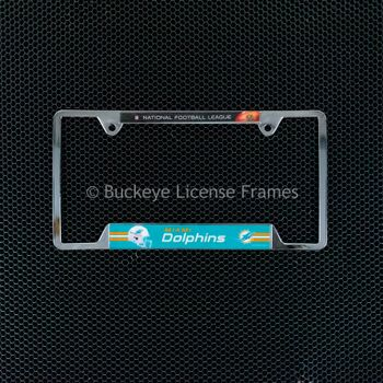 Miami Dolphins Chrome License Plate Frame - Metal