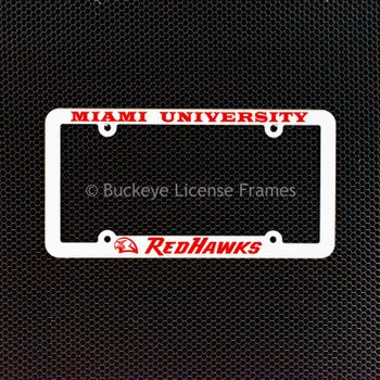 Miami University Redhawks White Plastic License Plate Frame With Raised Red Lettering