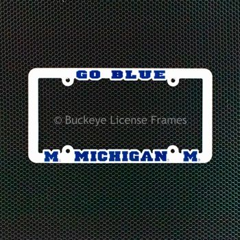 University of Michigan Wolverines GO BLUE Plastic License Plate Frame White with Raised Blue Letters