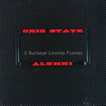 Ohio State University Alumni Black Metal License Plate Frame With Raised Red Lettering - Metal