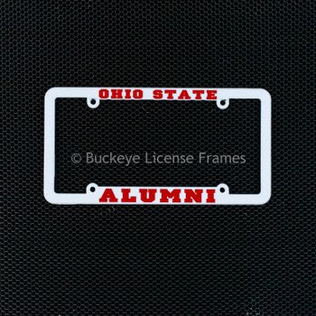 Ohio State University Alumni White Plastic License Plate Frame with Raised Red Lettering