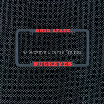 Ohio State Buckeyes Black Plastic License Plate Frame with Raised Red Lettering