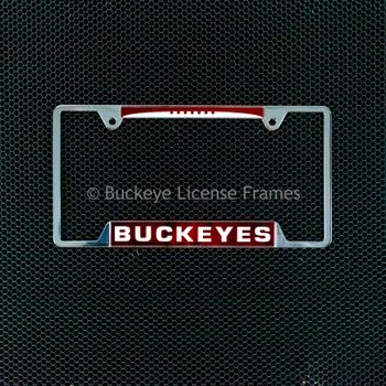 Ohio State University Buckeyes Chrome Laser Magic Inlaid License Plate Frame- with Football Top - Metal